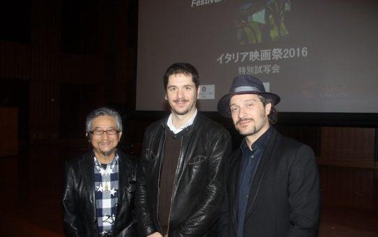 Gabriele Mainetti e Claudio Santamaria con Go Nagai (Credits: Pietro Coccia)