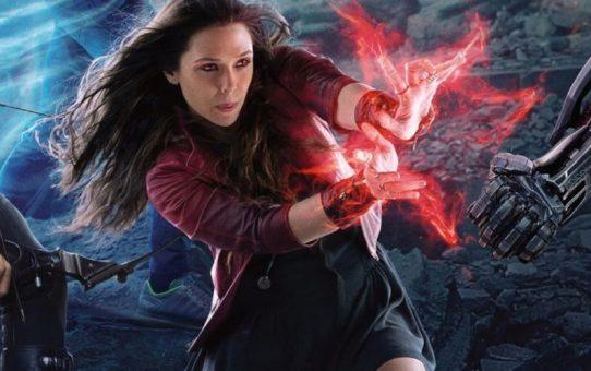 elizabeth olsen è scarlet witch set avengers infinity war