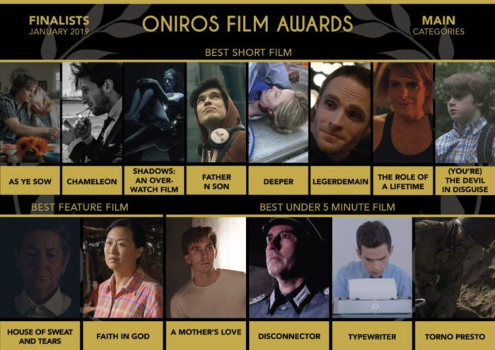 Oniros Film Awards - I finalisti del concorso mensile gennaio 2019