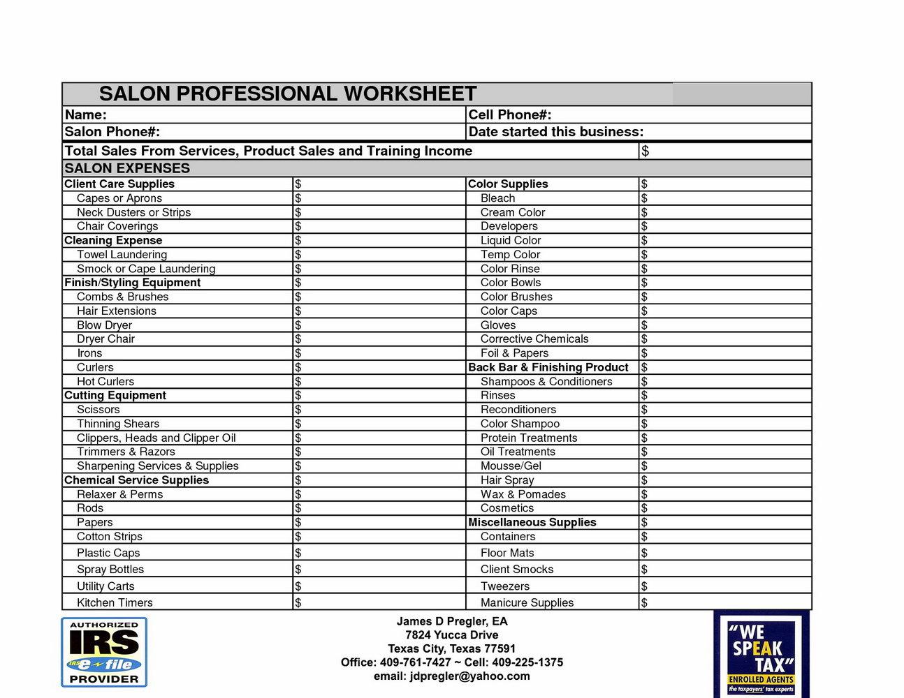 Tax Preparation Interview Worksheet