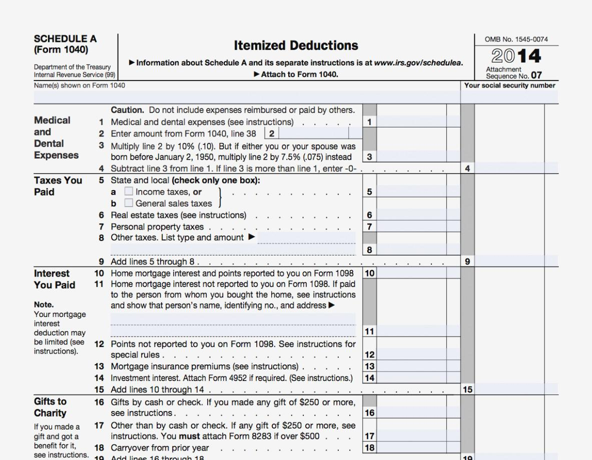 Federal Tax Form Itemized Deductions