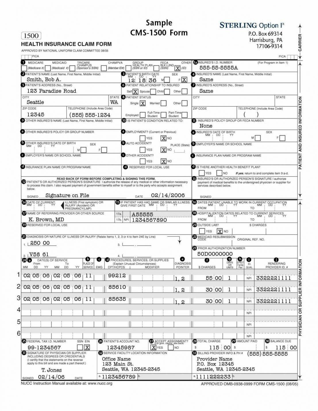 Hcfa Form Corrected Claim