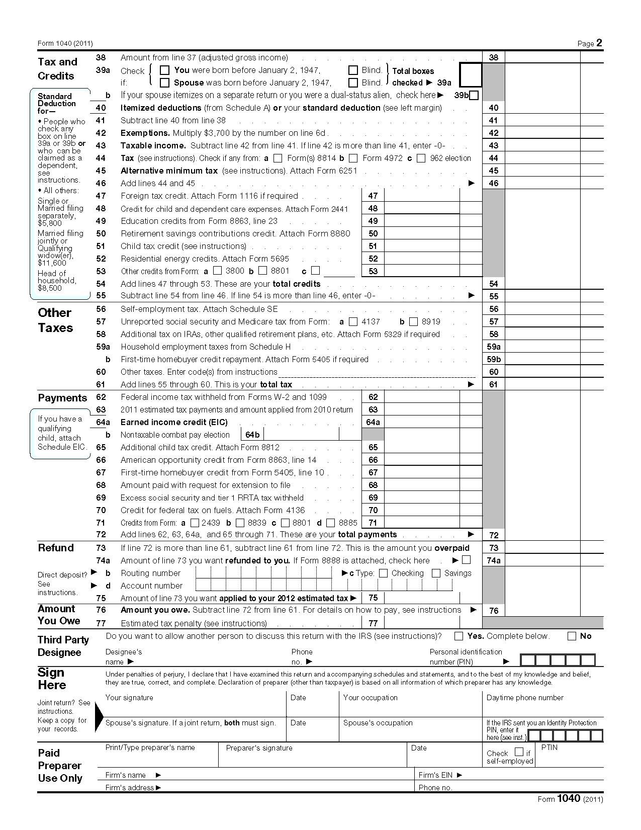 Federal Tax Form Ez Printable