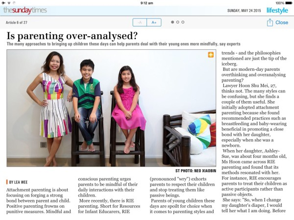 Featured in The Sunday Times – Is Parenting Over-Analysed?