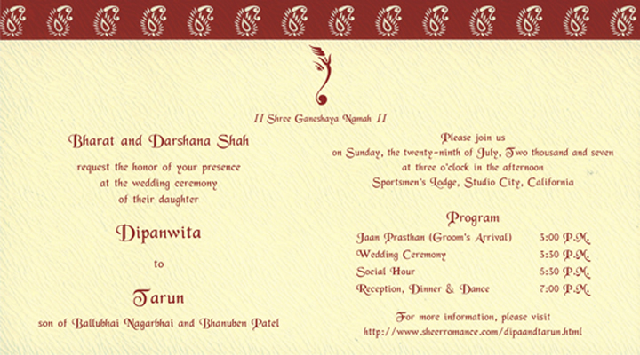 Hindu Wedding Invitations Online Free
