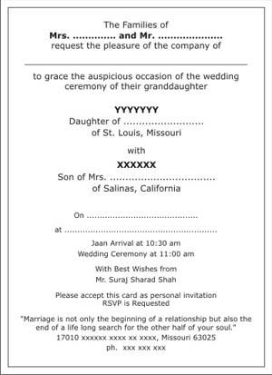 hindu wedding invitation wordings hindu