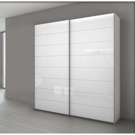 amoire blanc polaire a 2 portes coulissantes en verre blanc marcato 4