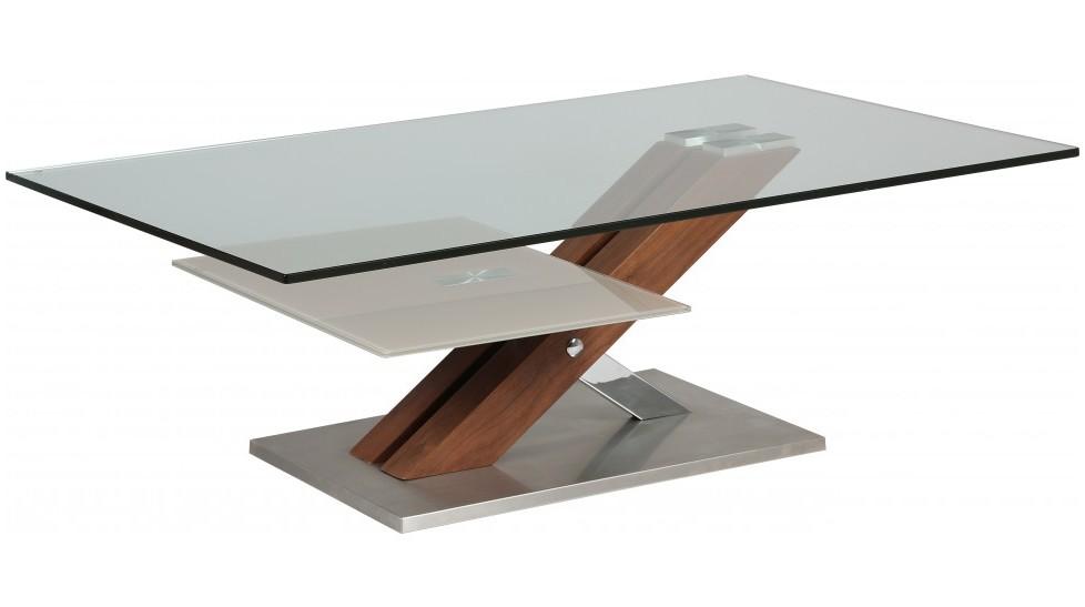 table basse design verre trempe pied noyer