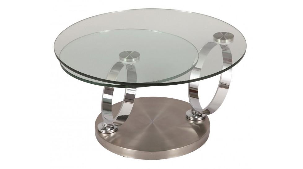table basse ronde en verre socle acier brosse