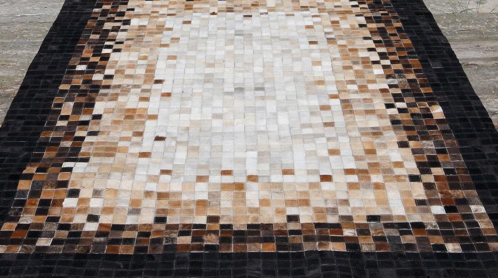 tapis en peaux de vache patchwork quadrac