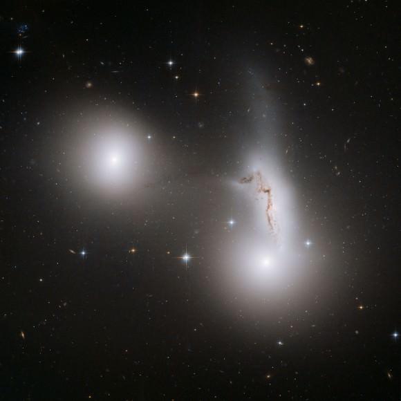 Trio of galaxies.  Image credit: NASA, ESA and R. Sharples (University of Durham, U.K.)