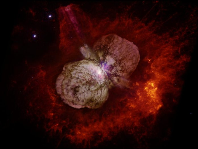 Eta Carinae is another luminous blue variable in the same general direction as AG Carinae and has the spectacular Homunculus Nebula surrounding it.