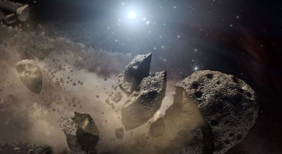 It's long been thought that a giant asteroid, which broke up long ago in the main asteroid belt between Mars and Jupiter, eventually made its way to Earth and led to the extinction of the dinosaurs. New studies say that the dinosaurs may have been facing extinction before the asteroid strike, and that mammals were already on the rise. Image credit: NASA/JPL-Caltech