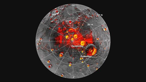 Imágenes de la región polar norte de Mercurio, proporcionadas por MESSENGER. Crédito: NASA / JPL