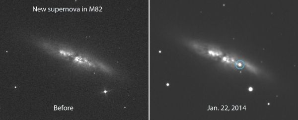 Bright New Supernova Blows Up in Nearby M82, the Cigar ...