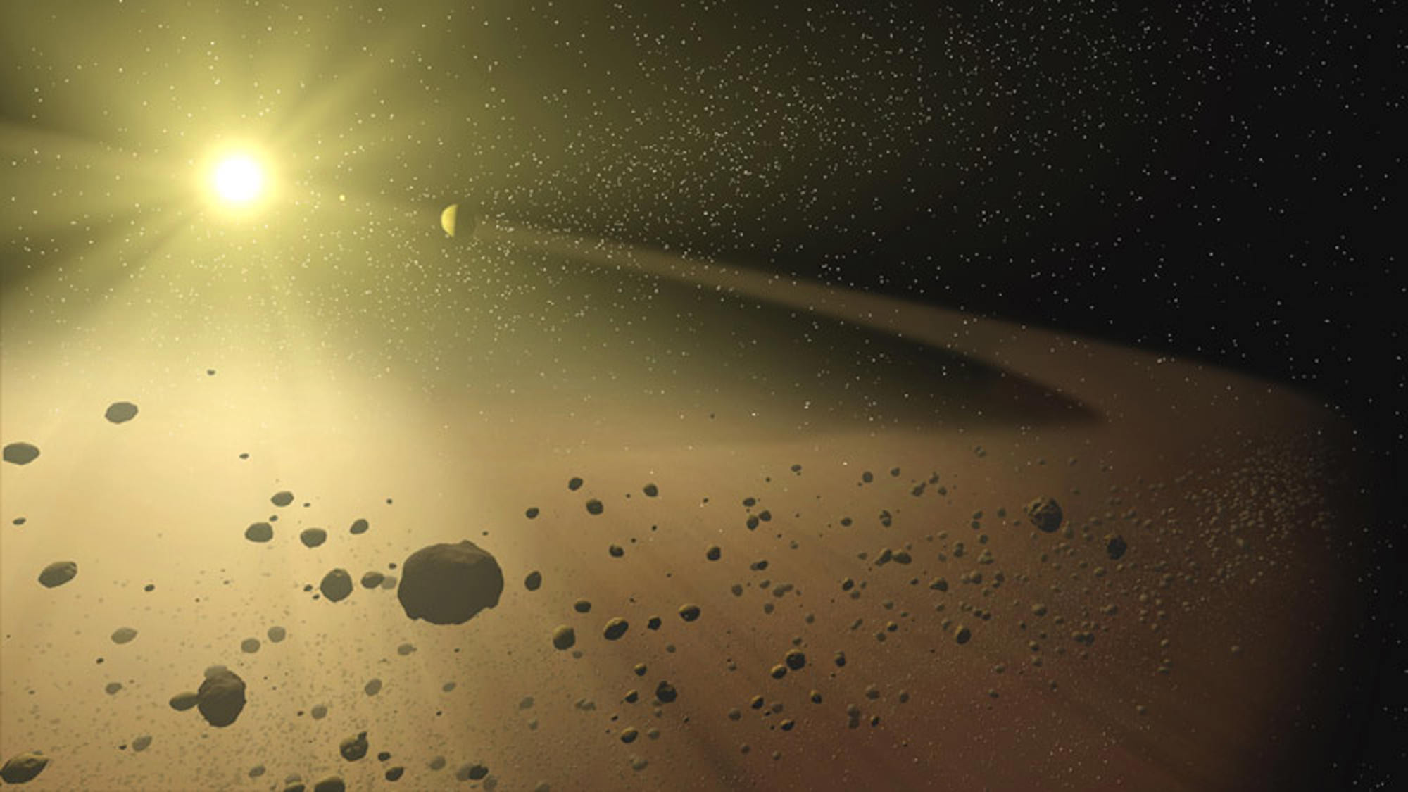 Artist's impression of the asteroid belt. Image credit: NASA/JPL-Caltech - Universe Today