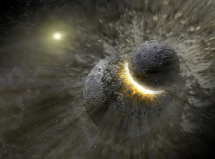 Artist's concept of a recent massive collision of dwarf planet-sized objects that may have contributed to the dust ring around the star Vega.