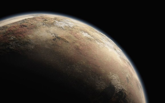 An artist's illustration of Pluto. With a tenuous atmosphere that has so far defied explanations, New Horizons is altogether revealing a light red - peach - colored surface but with large contrasting areas of white and dark red. (Illust. Credit: NASA/New Horizons)