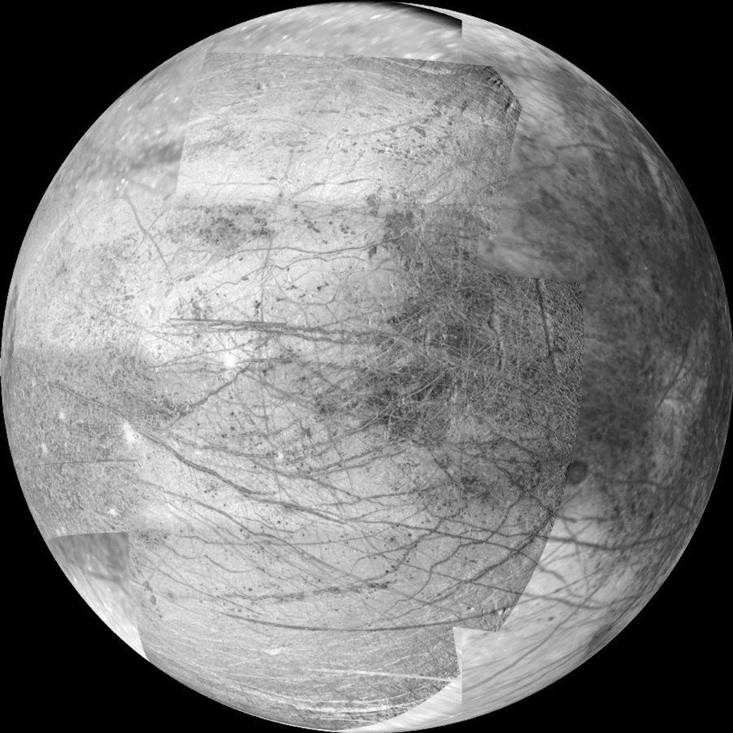 This 12-frame mosaic provides the highest resolution view ever obtained of the side of Jupiter's moon Europa that faces the giant planet. It was obtained on Nov. 25, 1999 by the camera onboard the Galileo spacecraft, a past NASA mission to Jupiter and its moons. Credit: NASA/JPL/University of Arizona