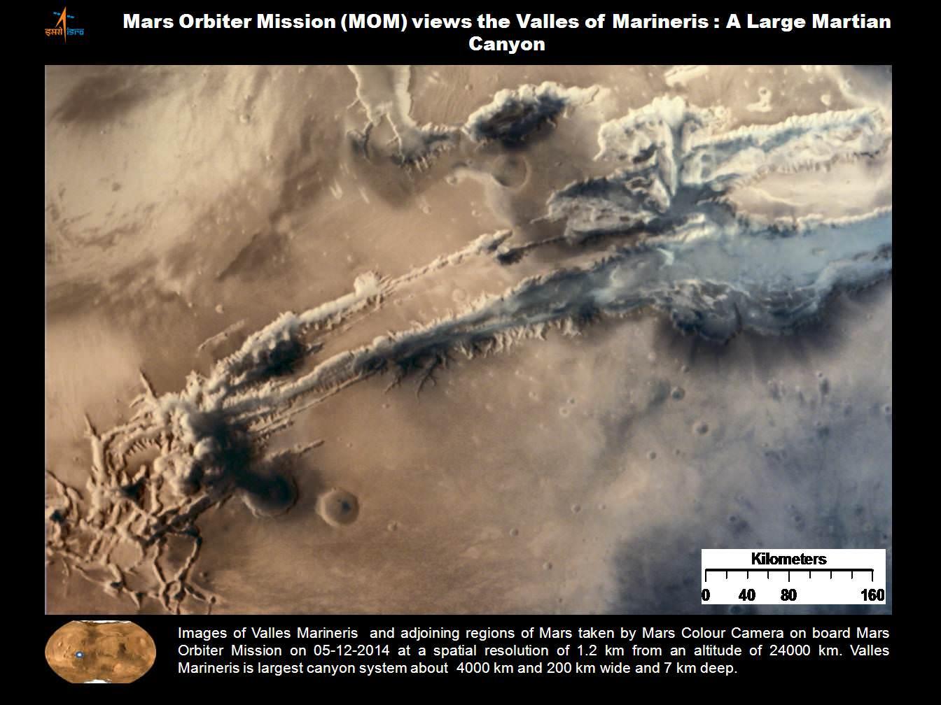 valles marineris from india�s mars mission credit isro