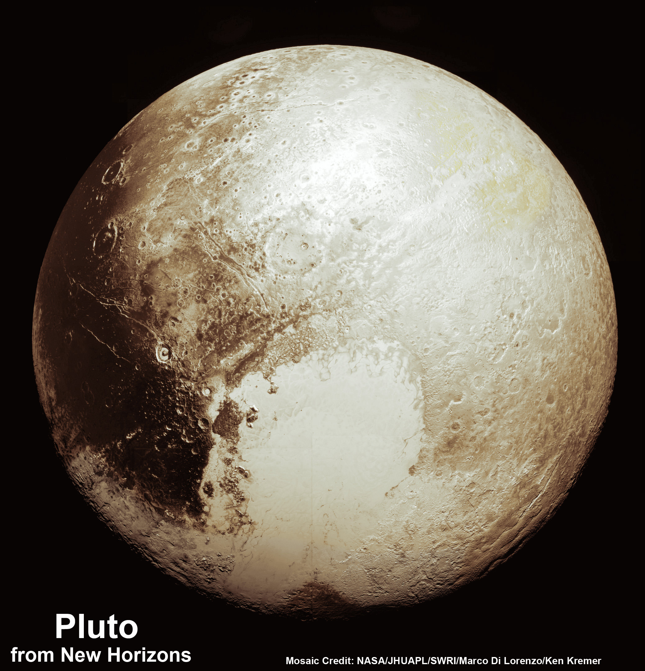 Global Pluto Mosaic From New Hi Res Imagery Reveals