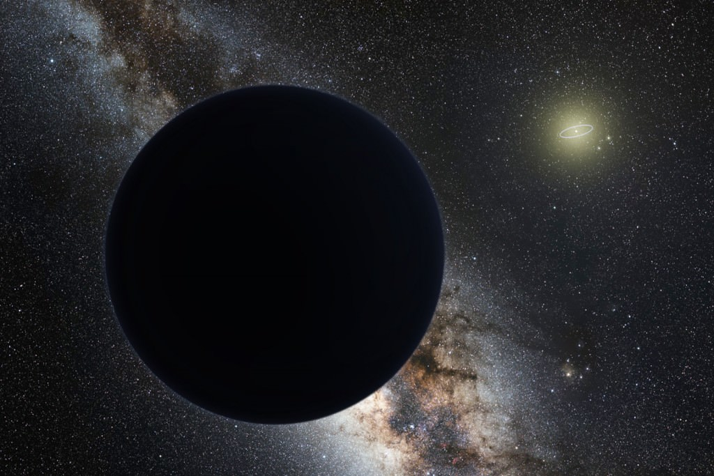 Artist's impression of Planet Nine as an ice giant eclipsing the central Milky Way, with a star-like Sun in the distance. Neptune's orbit is shown as a small ellipse around the Sun. The sky view and appearance are based on the conjectures of its co-proposer, Mike Brown.