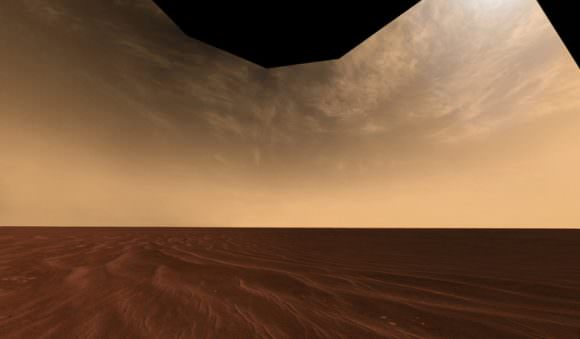 Cirrus clouds in the Martian atmosphere may have helped keep Mars warm enough for liquid water to sculpt the Martian surface. Image: Mars Exploration Rover Mission, Cornell, JPL, NASA