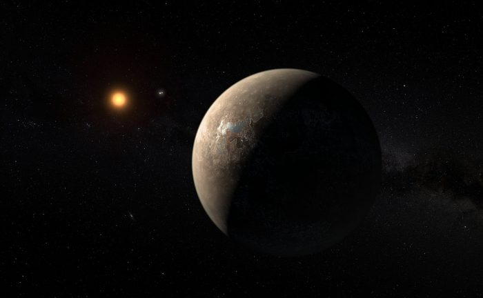 Artist's impression of the planet Proxima b orbiting the red dwarf star Proxima Centauri, the closest star to the Solar System. Credit: ESO/M. Kornmesser