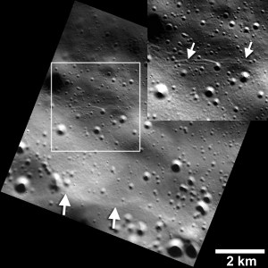 Images showing small fault scarps and trough (lower and upper white arrows) found on Mercury;s surface. Credits: NASA/JHUAPL/Carnegie Institution of Washington/Smithsonian Institution