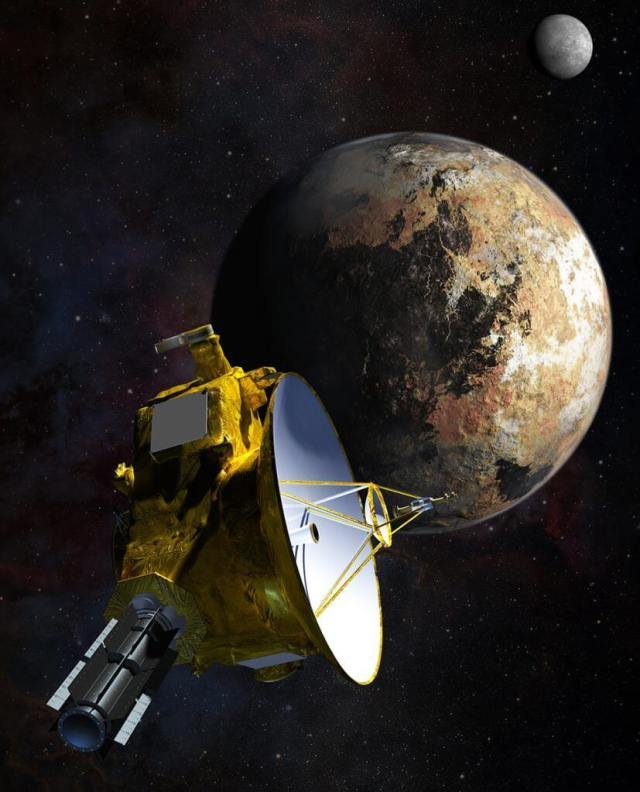 Artist's impression of New Horizons' close encounter with the Pluto–Charon system. Data transmission was a critical issue for the mission. Its fly-by of Pluto was on July 14, 2015. The last data from that encounter wasn't received on Earth until October 2016. Strong AI would be a benefit to missions to the outer reaches of the Solar System. Credit: NASA/JHU APL/SwRI/Steve Gribben