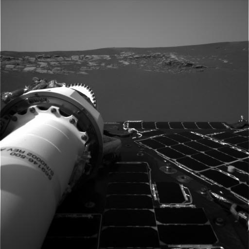 Opportunity's navigation camera took this picture, one of the rover's first, of the inside of Eagle Crater. Exposed Martian rocks are visible. NASA/JPL