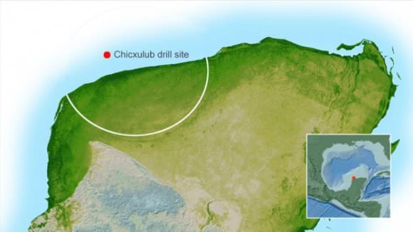 The peak ring is at the center of the crater, offshore of the Yucatan Peninsula. Image: NASA/BBC