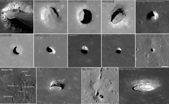 Images of open lava tubes on the Moon. Image credit: NASA/LRO