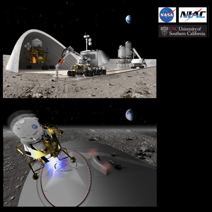 Artist's depiction of an earlier NIAC project by the University of Southern California to 3D print a landing space.