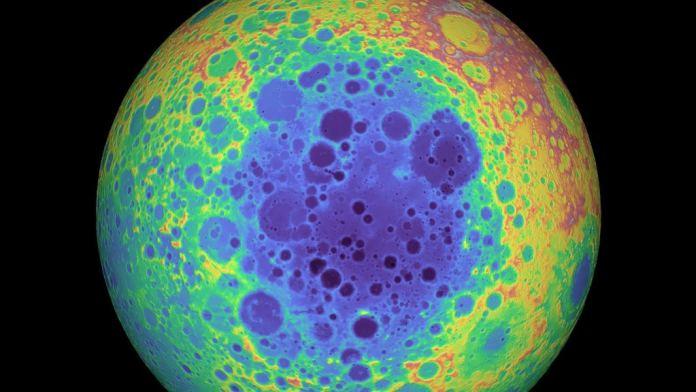 Elevation data of the Moon showing the South Pole-Aitken Basin. Credit: NASA/GSFC/University of Arizona