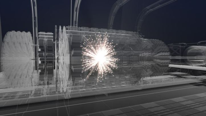 Artistic impression of a collision event at the centre of a future detector following preliminary design studies. Image Credit: CERN.