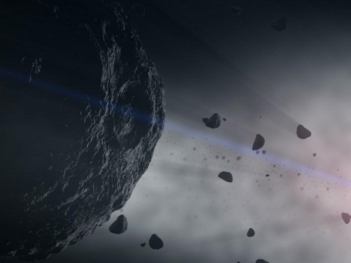 Asteroiden sind Bausteine der felsigen Planeten des Sonnensystems. Wenn sie im Asteroidengürtel zusammenstoßen, geben sie Staub ab, der im gesamten Sonnensystem verstreut ist. Wissenschaftler können hier nach Hinweisen auf die Frühgeschichte von Planeten suchen. (Illustration) Credits: Das Goddard Space Flight Center der NASA