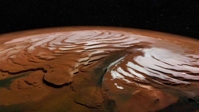 Image of the northern polar ice cap of Mars.