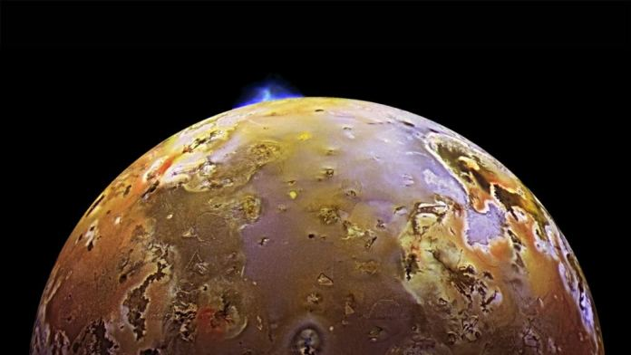 One of many volcanic eruptions that happen regularly on Io, the most volcanically active body in the Solar System. Io is heated by tidal interactions with Jupiter, which squeeze the moon and heat it up. Image Credit:  NASA/JPL/University of Arizona