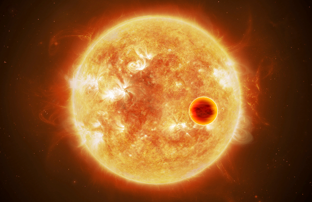 """Artist's impression of a """"hot Jupiter"""", a gas giant that orbits it sun at a fraction of the distance between the Earth and Sun, similar to the one though to be found on Vega."""