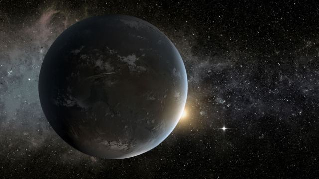 An artist's illustration of the exoplanet Kepler 62f. It's in the habitable zone of its star and is a super-Earth. Scientists aren't sure, but it may be a waterworld. Image Credit: By NASA Ames/JPL-Caltech - http://www.nasa.gov/mission_pages/kepler/multimedia/images/kepler-morningstar.html, Public Domain, https://commons.wikimedia.org/w/index.php?curid=25659816