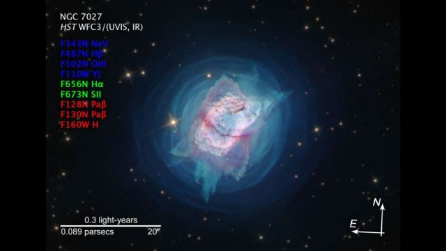 An image of the study. Color overlay of Cycle 27 HST/WFC3 narrow-band images of NGC 7027. Filter F343N ([Ne v]) is blue, F502N ([O iii]) is green, and F164N ([Fe ii]) is red. North is up and east is to the left. Image Credit: NASA/ESA/Hubble; Kastner et al, 2020.
