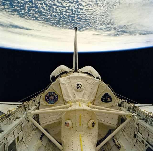 The inside of the Space Shuttles' cargo bay were almost completely covered in beta cloth to protect it from atomic oxygen erosion. Image Credit: NASA