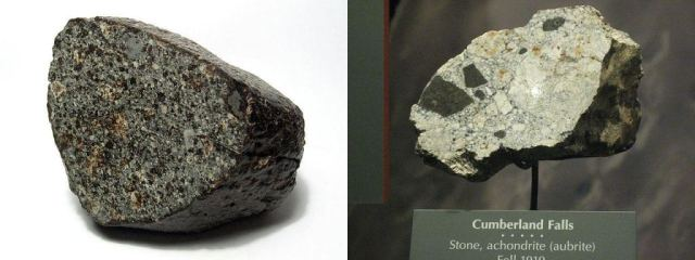 Two types of meteorites: on the left is the NWA 869 meteorite, a chondrite. On the right is the Cumberland Falls meteorite, an achondrite. Their appearances are much different. Image Credit: Left:  By H. Raab (User:Vesta) - Own work, CC BY-SA 3.0, https://commons.wikimedia.org/w/index.php?curid=226918. Image Credit: Right: By Claire H. - originally posted to Flickr as Stone Achondrite (Aubrite) Meteor, CC BY-SA 2.0, https://commons.wikimedia.org/w/index.php?curid=10389394