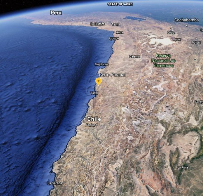 The Cerro Paranal Observatory, where the VLT sits, is at the interface between the Andes and the Chilean Coastal Range. Image Credit: Google Earth.