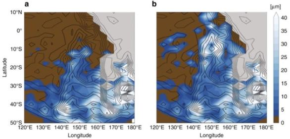 These images from the study show methane snow accumulations in the area highlighted in yellow in the previous image. Brown is volatile-free surface areas, and grey is the frozen nitrogen ice sheet in Sputnik Planitia. From blue to white shows increasing accumulations of methane ice. The image on the right is the same simulation but with increasing albedo affect. The images are from a climate simulation that the researchers ran. Contour lines are 300m. Image Credit: Bertand et al., 2020.