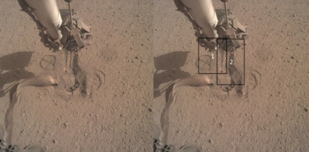 The mole is now buried under the matian surface, but it has not yet cleared all its obstructions.  October On October 17, the instrument arm scoop will make two parallel movements to place more clay on the mole.  Image Credit: NASA / DLR