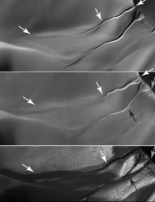Image showing changes to gullies on a different sand dune.