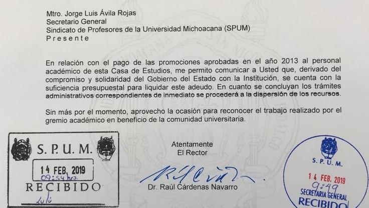Logra Rectorado de Cárdenas Navarro dinero para el pago de las Promociones del 2013 para el personal académico de la UMSNH.