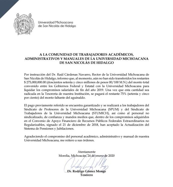Comunicado oficial de la Tesorería de la UMSNH